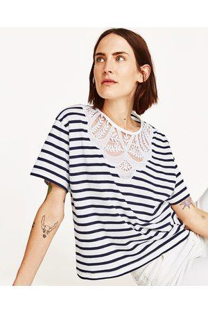 Kvinder Kortærmede - Zara T-SHIRT MED APPLIKATION OG TYL - Fås i flere farver