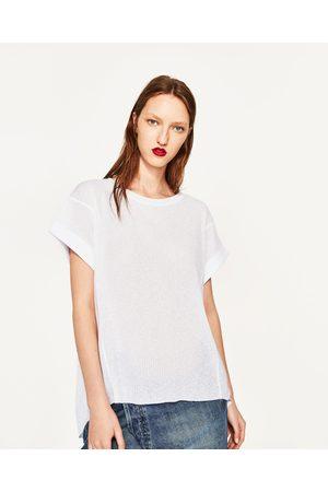 Kvinder Kortærmede - Zara T-SHIRT MED OPRULLEDE ÆRMER - Fås i flere farver