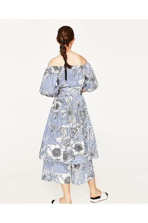 Kvinder Tunika kjoler - Zara MIDI TUNIKA MED STRIBER OG BLOMSTER