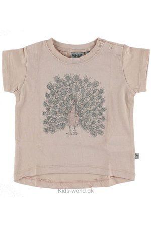 Piger Kortærmede - WHEAT T-shirt - Pudder m. Påfugl
