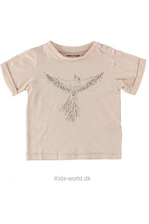 Kortærmede - Mini A Ture T-Shirt - Laurine - Puddermeleret m. Fugl
