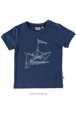 WHEAT Kortærmede - T-Shirt - Mørkeblå m. Papirsbåd