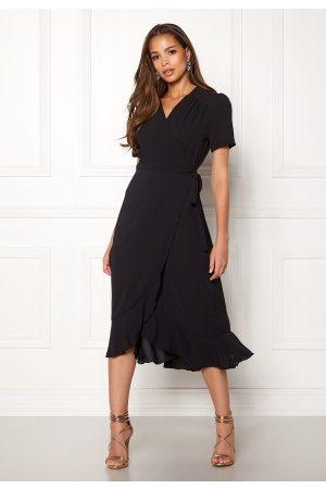 John Zack Short Sleeve Wrap Dress Black M (UK12)