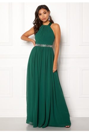 Goddiva Halterneck Chiffon Maxi Dress Green XS (UK8)