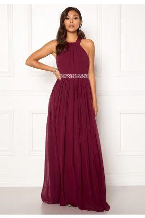 Goddiva Kvinder Festkjoler - Halterneck Chiffon Maxi Dress Berry XL (UK16)