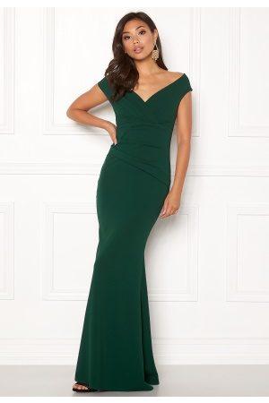 Goddiva Kvinder Maxikjoler - Bardot Pleat Maxi Dress Emerald XS (UK8)