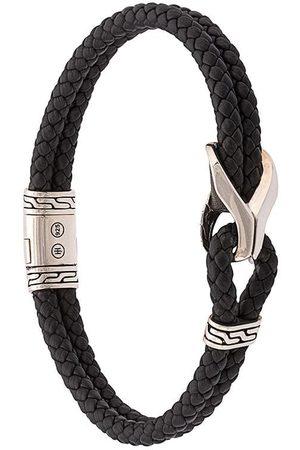 John Hardy Classic Chain-armbånd i vævet læder med sølvdetaljer
