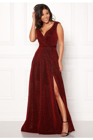 Goddiva Wrap Front Sleeve Dress Red L (UK14)