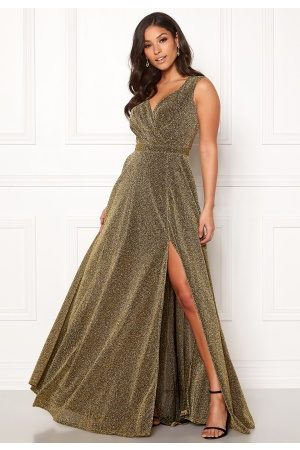 Goddiva Wrap Front Sleeve Dress Gold XS (UK8)