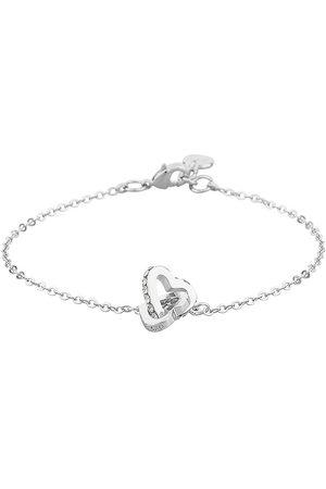 SNÖ of Sweden Kvinder Armbånd - Connected Chain Brace Heart S/Clear Accessories Jewellery Bracelets Chain Bracelets Sølv
