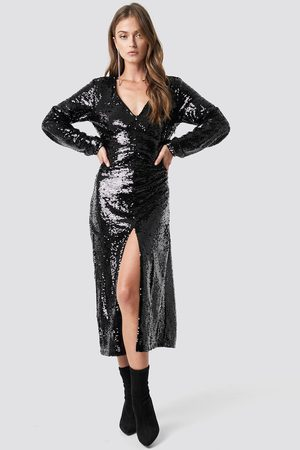 NA-KD V-Neck Sequins Midi Dress