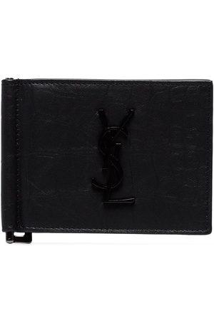 Saint Laurent Black leather money clip wallet