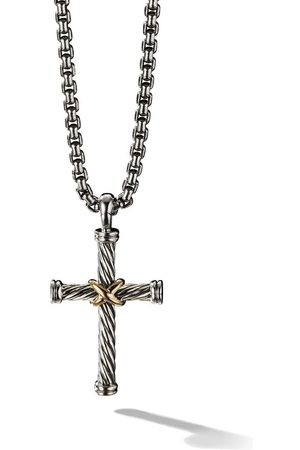 David Yurman Silver and 18kt yellow gold Cable Cross Enhancer pendant