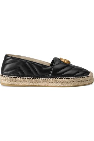 Gucci Kvinder Kilehæle - Leather espadrille with Double G