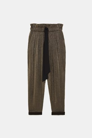 Zara PAPERBAG WAIST TROUSERS WITH SHIMMER