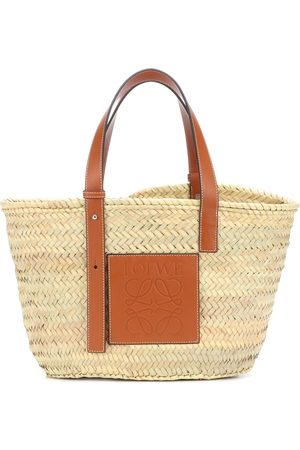 Loewe Kvinder Stofposer - Medium leather-trimmed basket tote