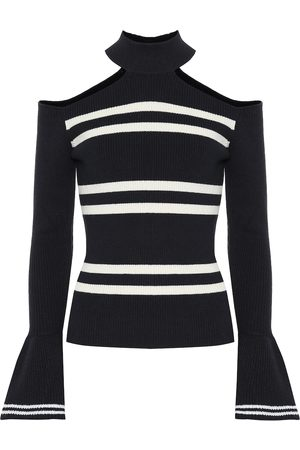 Self-Portrait Striped cotton and wool sweater