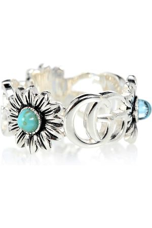 Gucci Double G flower sterling silver ring with topaz and mother of pearl