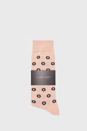 Zara Jacquardvævede, blomstrede strømper i merceriseret bomuld