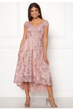 Goddiva Embroidered Lace Dress Blush S (UK10)