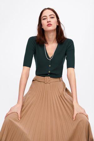 Zara Cardigan i rib med knapper