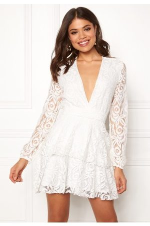 John Zack Kvinder Casual kjoler - Lace Deep V Skater Dress White S (UK10)