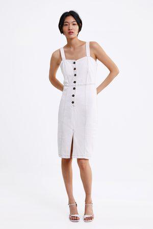 Zara Denim pinafore dress with contrast topstitching