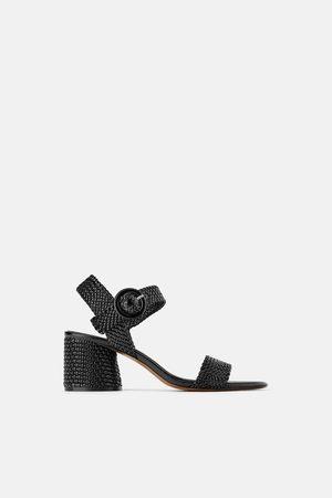 Zara Flettede sandaler med tyk hæl