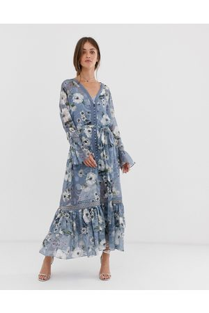 We Are Kindred Tabitha floral midi dress with button front - Cornflowers