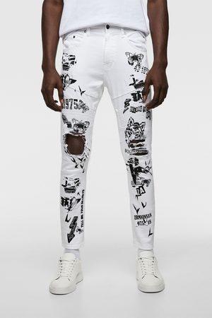 Zara Skinny biker-jeans med sloganprint