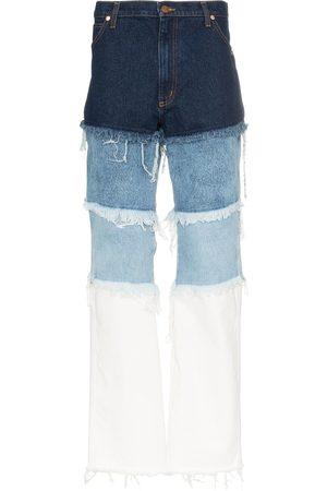DUO Jeans med patchwork-detalje og slitageeffekt