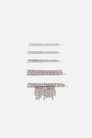 Zara Pakke med hårklips med rhinsten