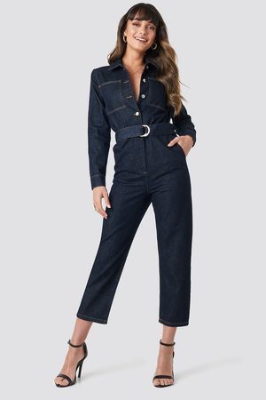 NA-KD Kvinder Jumpsuits & Playsuits - Waist Belt Denim Jumpsuit