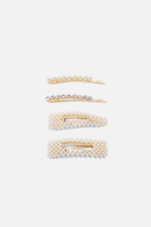 Zara Pakke med hårspænder med perler og similisten