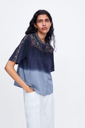 Zara Batikfarvet bluse med broderi