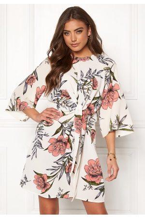 Ax Paris Floral Tie Front Dress Cream L (UK14)