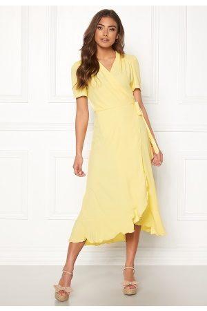 John Zack Short Sleeve Wrap Dress Lemon M (UK12)