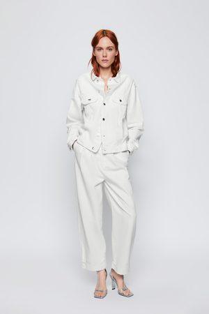 Zara Zw premium multidamage denim trucker jacket