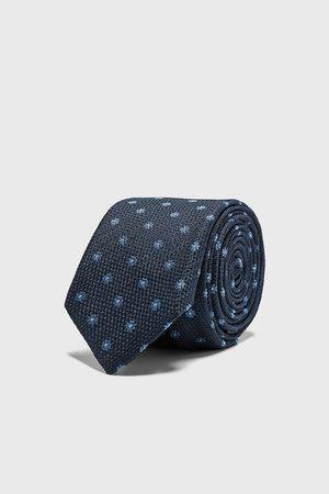 Zara Smalt, blomstret, jacquardvævet slips