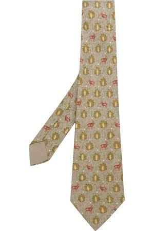 Hermès Leaves & deer print tie