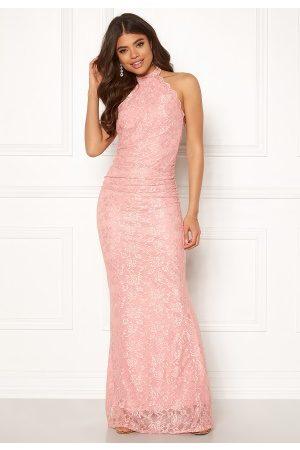 Goddiva High Neck Lace Maxi Dress Blush XS (UK8)