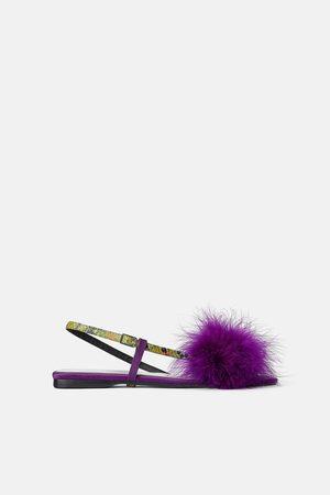 Zara Flade sandaler med fjerbesatte kanter - blue collection