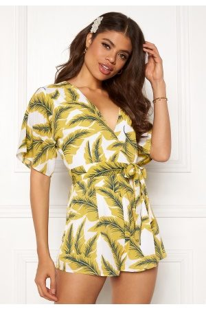 Girl in Mind Cecilla V Neck Playsuit Yellow Palm L (UK14)