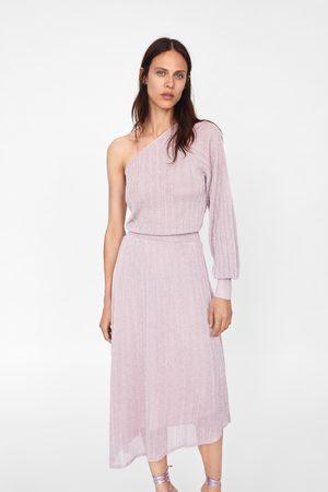 Zara Asymmetrisk kjole med metallisk tråd