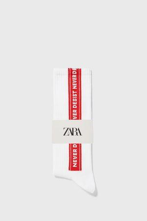 Zara Jacquardvævede strømper med slogan