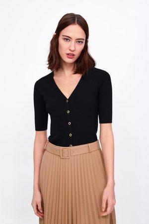 Zara Kvinder Cardigans - Cardigan i rib med knapper