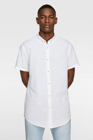 Zara Strukturvævet skjorte med korte ærmer