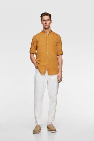 Zara Mænd Langærmede - Rustik skjorte med kinakrave