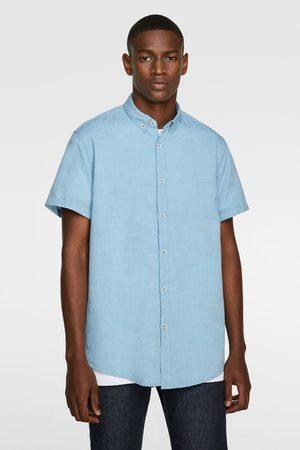Zara Mænd Kortærmede - Strukturvævet skjorte med korte ærmer