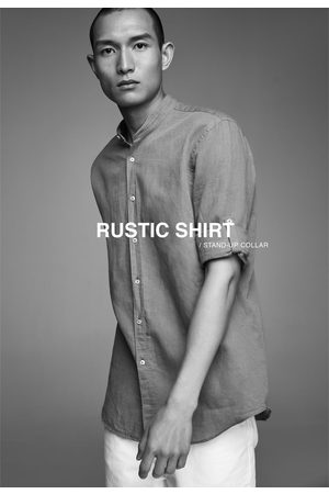 Zara Rustik skjorte med kinakrave